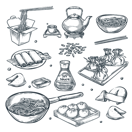 Chinese food, vector sketch illustration. Set of isolated hand drawn china and asian meal. Restaurant or cafe menu design elements.