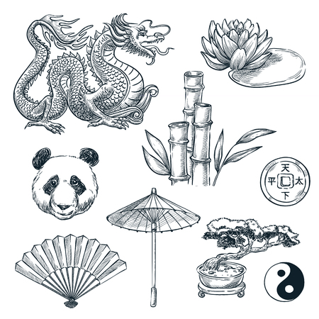 China national symbols, vector sketch illustration. Chinese dragon, panda, bamboo and lotus flower, isolated on white background.