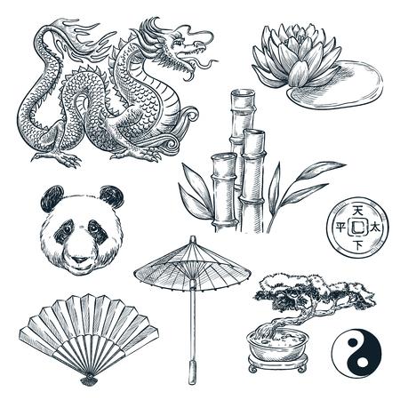 Symboles nationaux de la Chine, illustration vectorielle de croquis. Dragon chinois, panda, bambou et fleur de lotus, isolé sur fond blanc.