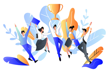 Successful team or teamwork concept. Vector flat style illustration. Happy young people got prize, business metaphor. Vettoriali
