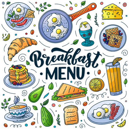 Breakfast menu design elements. Vector doodle style illustration. Hand drawn calligraphy lettering and traditional breakfast meal. Egg, avocado, bacon, coffee icons. Vector Illustration