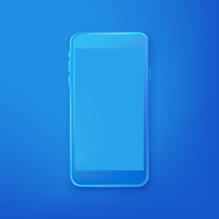 Smartphone mockup design template. Vector realistic 3d illustration of blue plastic mobile phone on blue gradient background. Blank screen modern device.