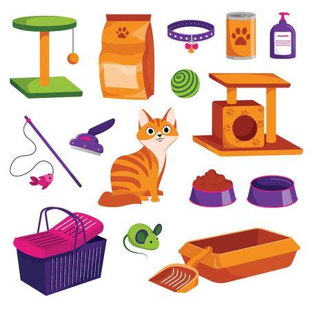 Jeu d'icônes d'animalerie. Illustration de dessin animé de vecteur de marchandises de chat. Nourriture pour animaux, jouets, soins et autres choses. Vecteurs