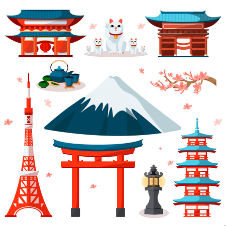 Viajar a Asia, Japón iconos y conjunto de elementos de diseño aislado. Vector símbolos y puntos de referencia de la cultura japonesa y de Tokio. Ilustración de vector