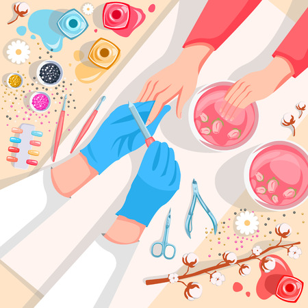 Manicure, hands and nails care top view vector illustration. Beauty salon and spa procedure concept. Young girl makes a manicure in the salon. Manicurist work process Archivio Fotografico - 117370049