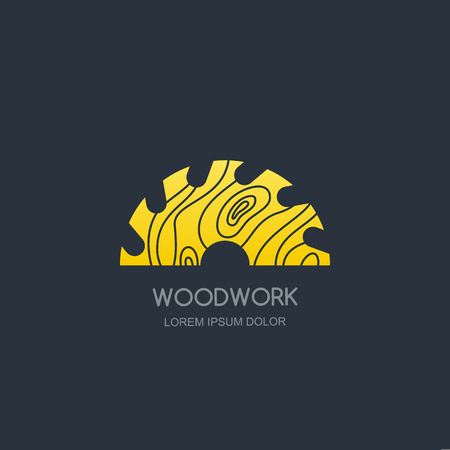 Woodwork and carpentry logo emblem concept. Circular saw with wooden rings texture, vector label icon design. Ilustracja
