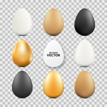 Easter realistic eggs set on transparent background. Vector 3d food illustration. Holiday design elements.