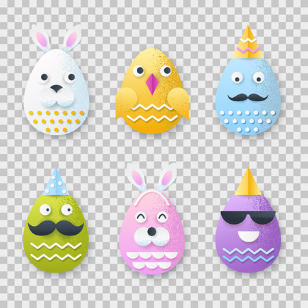 Easter 3d paper cut eggs with funny characters faces. Vector holiday craft handmade design elements on transparent background.
