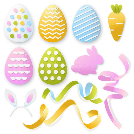 Easter 3d paper cut eggs, ribbons, rabbit set. Vector holiday craft handmade design elements on white background. Ilustracja