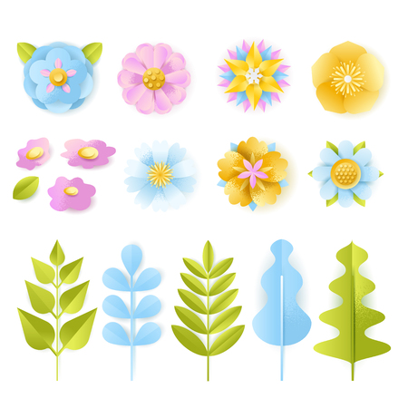 Spring, summer 3d paper cut floral design elements set. Vector craft handmade leaves and flowers, isolated on white background. Greeting card, holiday decoration carving symbols. Иллюстрация