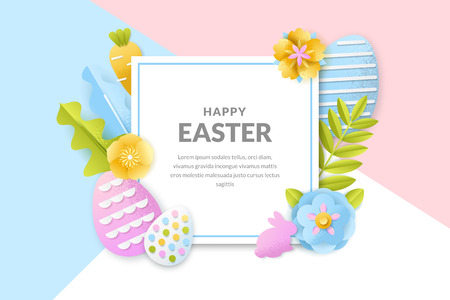 Happy Easter vector poster, banner template. Holiday frame background with 3d paper cut eggs, flowers and leaves. Creative handmade greeting card design.