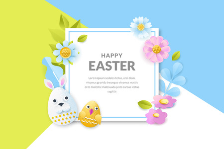 Happy Easter vector banner or poster template. Holiday frame background with 3d paper cut funny characters faces eggs, flowers and leaves. Creative handmade greeting card design.