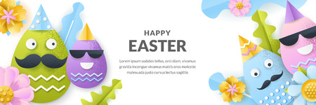 Easter vector banner template. Holiday horizontal background with 3d paper cut funny characters faces eggs, flowers and leaves. Creative handmade greeting card design.