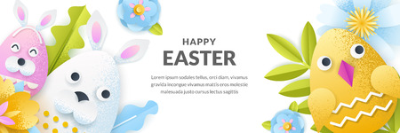 Easter vector banner template. Holiday horizontal background with 3d paper cut cute rabbit and chicken eggs, flowers and leaves. Craft greeting card design.
