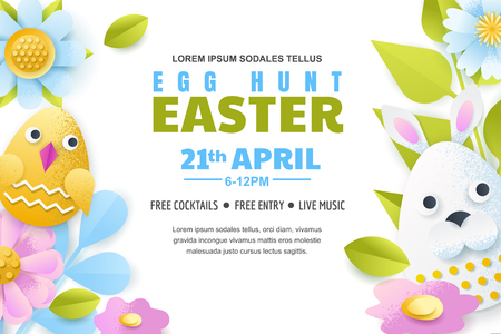 Egg hunt Easter poster, banner or flyer template. Vector layout. Holiday greeting card illustration. Paper cut colorful fun background. Illustration