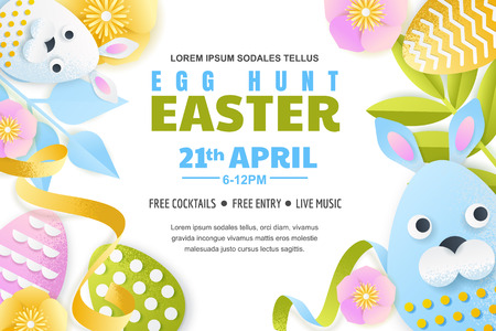 Egg hunt Easter horizontal banner template. Holiday poster or flyer layout. Vector 3d paper cut style illustration. Cute craft holiday characters.