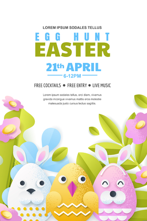 Egg hunt Easter vertical poster layout with place for text. Vector holiday banner or flyer template. Paper layers craft style illustration of cute characters and spring plants. Illustration