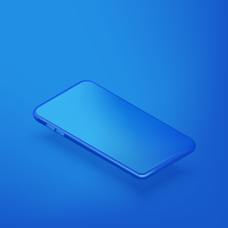 Smartphone horizontal mockup design template. Vector realistic 3d isometric illustration of blue plastic mobile phone on blue gradient background. Blank screen modern device.