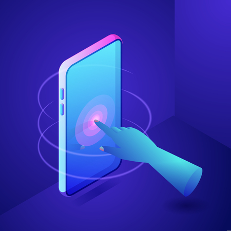 Human hand finger touching screen on smartphone or tablet-pc. Digital modern interactive technology concept. Vector neon gradients 3d isometric illustration. Иллюстрация