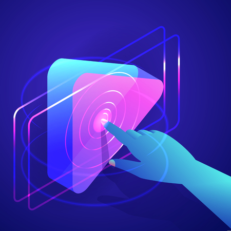 Human hand press play button. Video, music, internet media player interface. Launching presentation or business start-up concept. Vector neon gradients 3d isometric illustration.