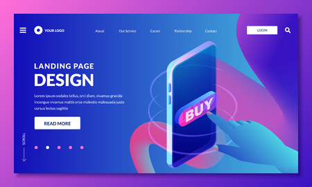 Landing page, web banner design layout. Human finger press buy button, vector 3d isometric illustration. Marketing, internet shopping, e-commerce concept. Neon fluid gradients background. Иллюстрация