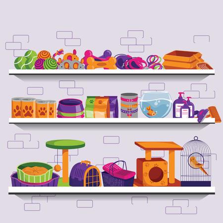 Ilustración de vector de tienda de mascotas. Estantes del mercado con alimentos, suministros, accesorios y juguetes para perros y gatos. Banner, flyer o cartel de fondo plano.