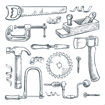 Woodwork and carpentry tools set. Carpenter workshop craft equipment, vector hand drawn sketch illustration. Wood material and furniture industry design elements.
