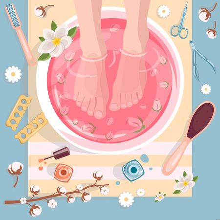 Spa procedures, pedicure and manicure top view vector illustration. Beauty salon concept. Female feet in pink water bowl with flowers. Illustration