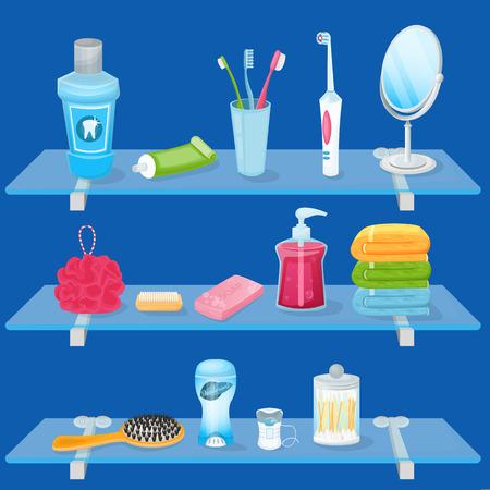 Suministros de higiene personal. Ilustración de dibujos animados de vector. Estantes de vidrio para baños con jabón, cepillo de dientes, pasta de dientes y toallas de mano. Iconos sanitarios y de cuidado y elementos de diseño.