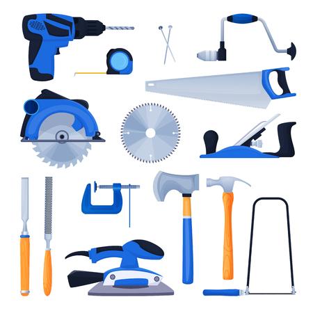 Woodwork and carpentry tools set. Carpenter workshop craft equipment, vector cartoon illustration. Wood material and furniture industry design elements. Illustration