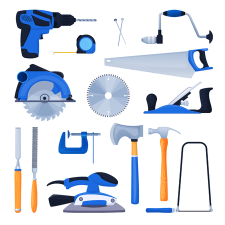 Woodwork and carpentry tools set. Carpenter workshop craft equipment, vector cartoon illustration. Wood material and furniture industry design elements. Ilustrace