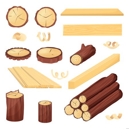 Wood plank, logs and trunk, vector cartoon illustration isolated on white background. Firewood and wooden industry materials objects set.