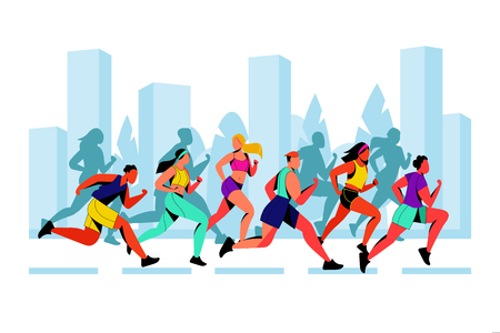 City marathon vector flat illustration. Running colorful people against city silhouette background. Outdoor sport and healthy lifestyle concept.