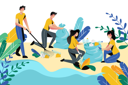 Volunteering, charity social concept. Volunteer people cleaning garbage on beach area or city park, vector flat illustration. Ecological lifestyle.