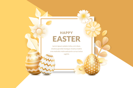 Happy Easter vector banner or poster template. Holiday frame background with 3d realistic golden eggs, flowers and leaves. Creative greeting card design. Illustration