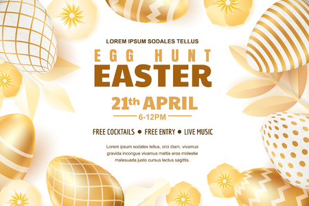 Egg hunt Easter poster, banner or flyer template. Vector layout. Holiday greeting card illustration. Gold eggs with geometric pattern on white background.