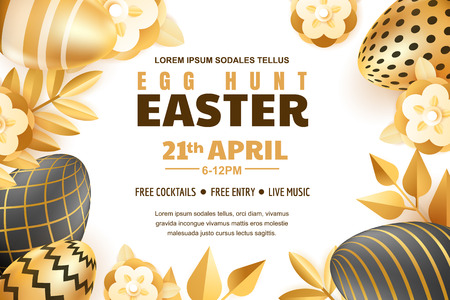 Egg hunt Easter horizontal banner template. Holiday poster or flyer layout. Vector 3d gold and black realistic eggs and leaves illustration. Иллюстрация