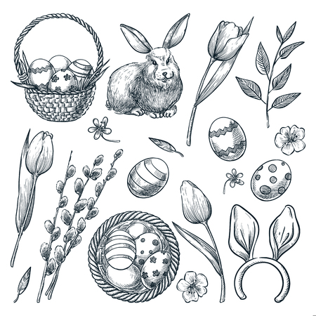 Easter eggs, basket, rabbit, willow and tulips flowers. Vector sketch illustration. Spring holiday design elements set.