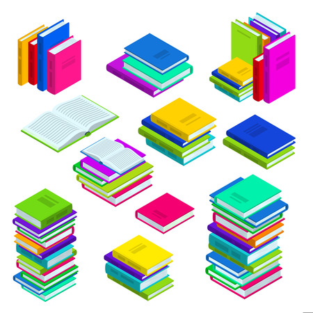 Open and closed book and stacked books. Multicolor vector isometric icons set. Library, study and education symbols.