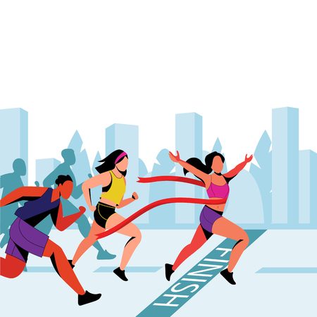 Young girl wins in city marathon. Vector flat illustration. Winner with red ribbon on finish line. Outdoor sport and healthy lifestyle concept.