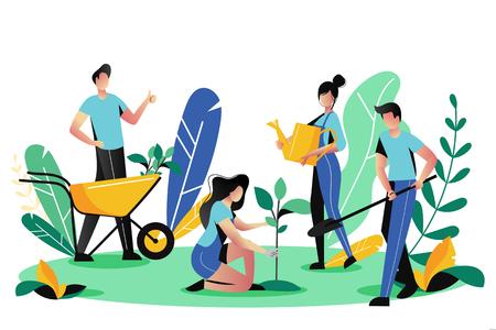 Voluntariado, concepto social de caridad. Personas voluntarias plantan árboles en el parque de la ciudad, ilustración plana vectorial. Estilo de vida ecológico.