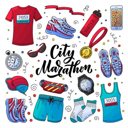 Kit essentiel de vêtements, d'équipements et d'accessoires de course de marathon. Illustration de style vecteur doodle. Lettrage de calligraphie dessiné à la main, icônes de fitness et de sport, isolés sur fond blanc. Vecteurs