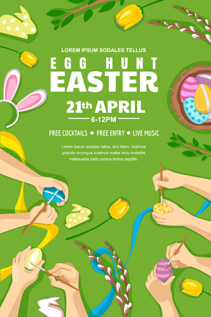 Egg hunt Easter poster, banner or flyer layout with place for text. Kids painting Easter eggs, vector top view illustration. Family holiday leisure concept. Illustration