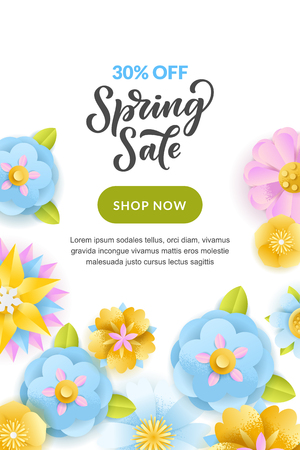 Spring sale vertical banner or poster design template. Vector illustration of paper layers craft flowers and hand drawn calligraphy lettering. Colorful holiday background. Иллюстрация