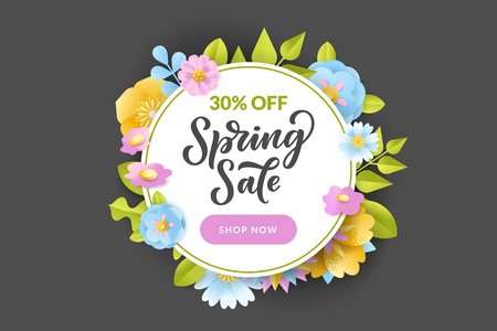 Floral spring circle frame on black background. Vector discount and sale banner, flyer, poster template. Papercut style illustration of beautiful flowers and hand drawn calligraphy lettering. Иллюстрация