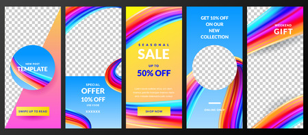 Stories vector template for social network. Story abstract white background with gradient paint brush stroke. Trendy design for fashion sale and special offer flyers. Иллюстрация