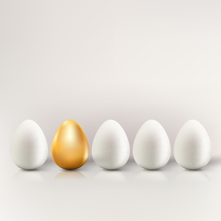 Uniqueness, individuality and being different business creative concept. Vector 3d realistic illustration of white eggs and one golden egg.