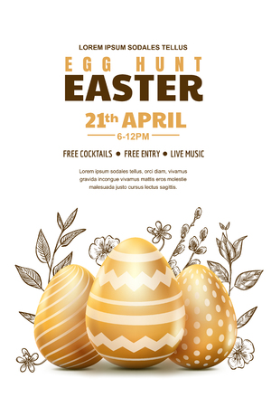 Egg hunt Easter poster or banner template. Holiday flyer layout with place for text. Vector illustration. 3d gold realistic eggs and sketch hand drawn leaves. Иллюстрация