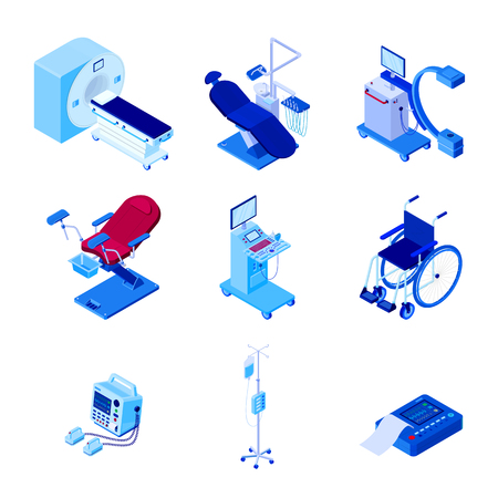 Medical diagnostic examination equipment. Vector 3d isometric illustration of MRI scanner, dentist, gynecology chair, radiology x-ray machine, wheelchair, blood transfusion, cardiograph, ultrasound.