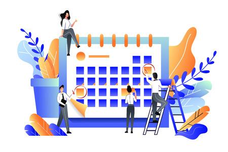 Planning, management, deadline and time management business concept. Vector flat illustration. Team makes office work schedule. Illustration